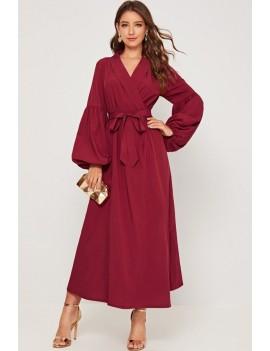 Dark-red Belt Tied V Neck Puff Sleeve Chic Maxi Dress