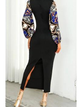 Black Chain Print Tied Slit Puff Sleeve Casual Bodycon Maxi Dress