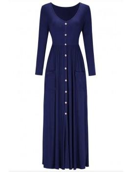 Dark-blue V Neck Button Up Long Sleeve Pocket Casual Maxi Dress