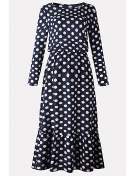 Dark-blue Polka Dot Round Neck Long Sleeve Casual Maxi Dress