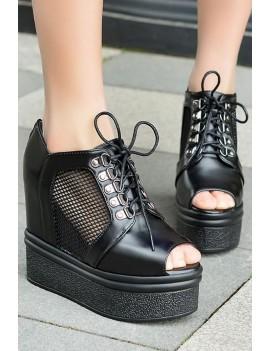 Black Peep Toe Mesh Lace Up Platform Casual Wedges