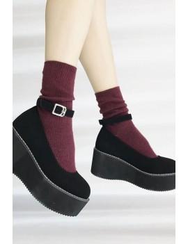 Black Suede Round Toe Ankle Strap Platform Wedges