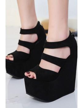 Black Peep Toe Faux Leather Zipper Platform Wedge Sandals