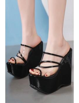 Black Cutout Peep Toe Clear Platform Wedge Mules