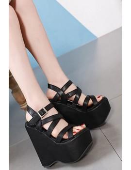 Black Crisscross Strappy Platform Wedge Sandals