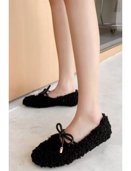 Black Faux Fur Tied Round Toe Flats