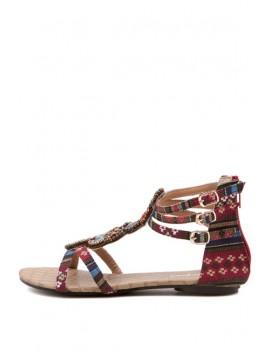 Dark Red Boho Beaded Strappy Flat Sandals